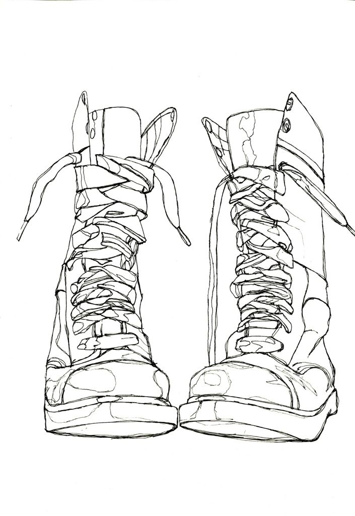Drawn shoe contour drawing Drawing Line Pinterest Continuous Line