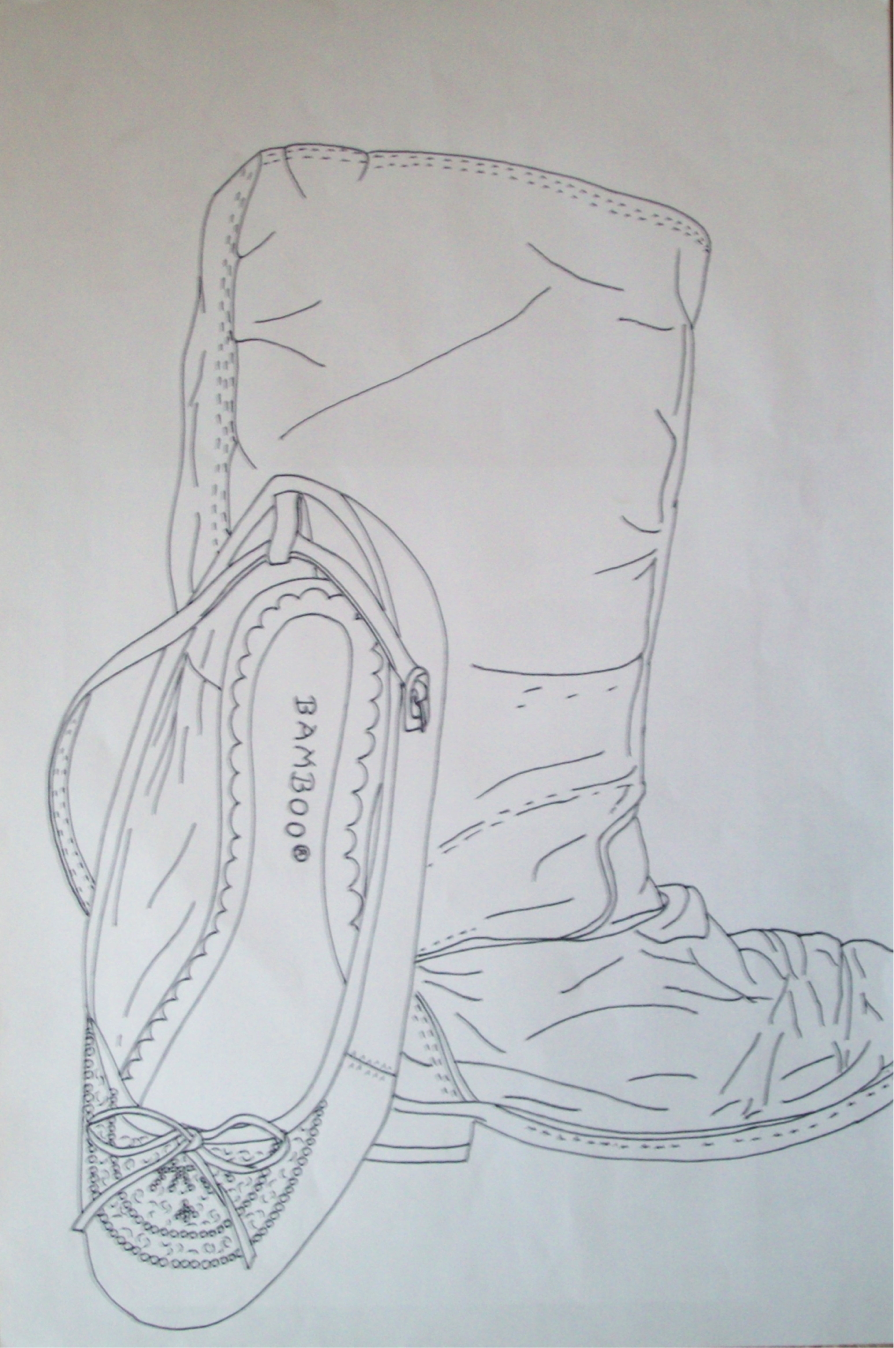 Drawn shoe contour drawing Teach Contour Contour Drawing of