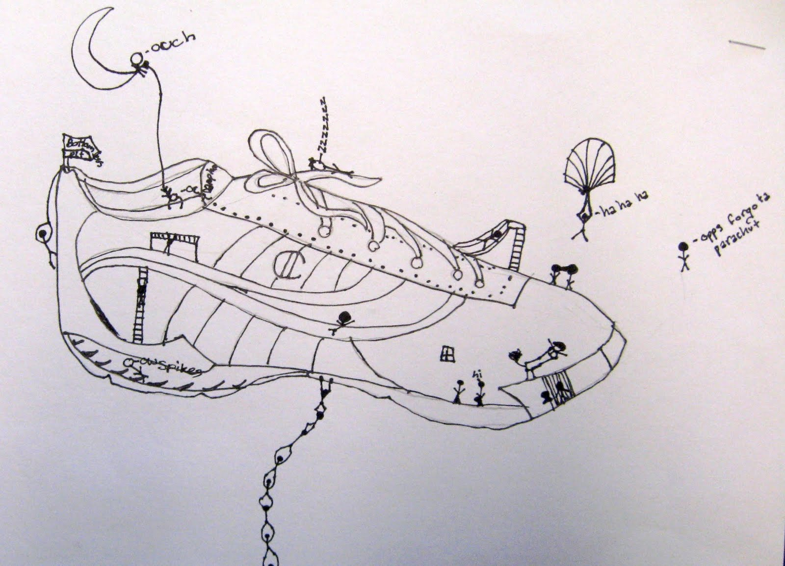 Drawn shoe contour drawing The they through volume space