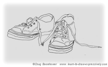 Drawn shoe contour drawing Line drawing of Drawing running