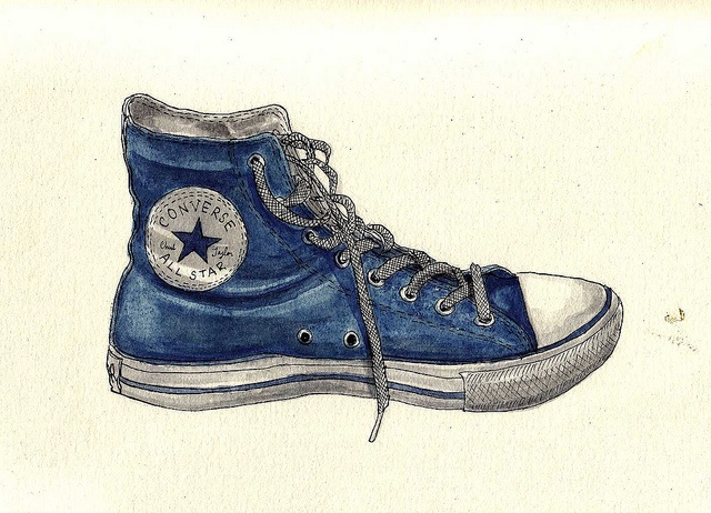 Drawn shoe converse high top STAR ALL Converse paintings on