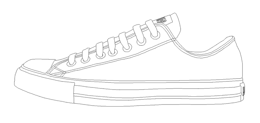 Drawn shoe converse high top Template Template Drawing Design Converse