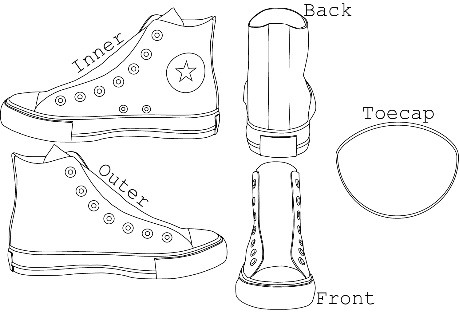 Drawn shoe converse high top AlexChastain Template tops on Chuck