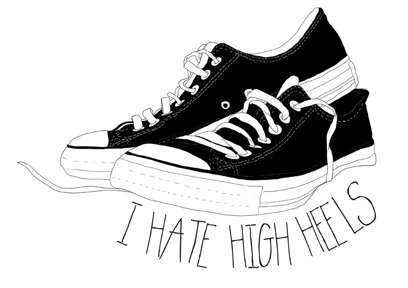 Drawn converse clip art Hate heels Etsy converse Illustration