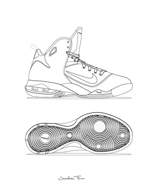 Drawn shoe design sketch basketball Shoe line 01 JONATHAN Bball