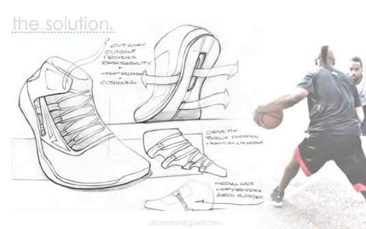 Drawn shoe design sketch basketball Future Footwear Athletic Up of