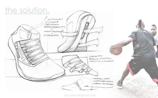 Drawn shoe design sketch basketball Aric Armon 2012 Yea o1