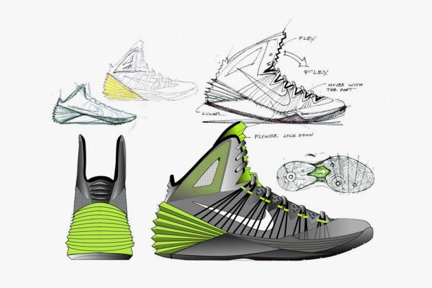 Drawn shoe design sketch basketball Design sketch of Product 2013