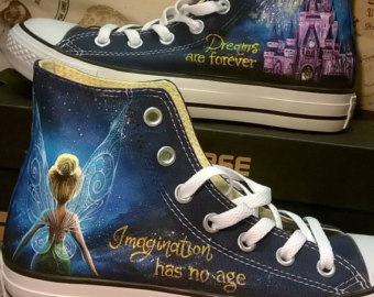 Drawn shoe disney Disney painted converse painted Tinkerbell