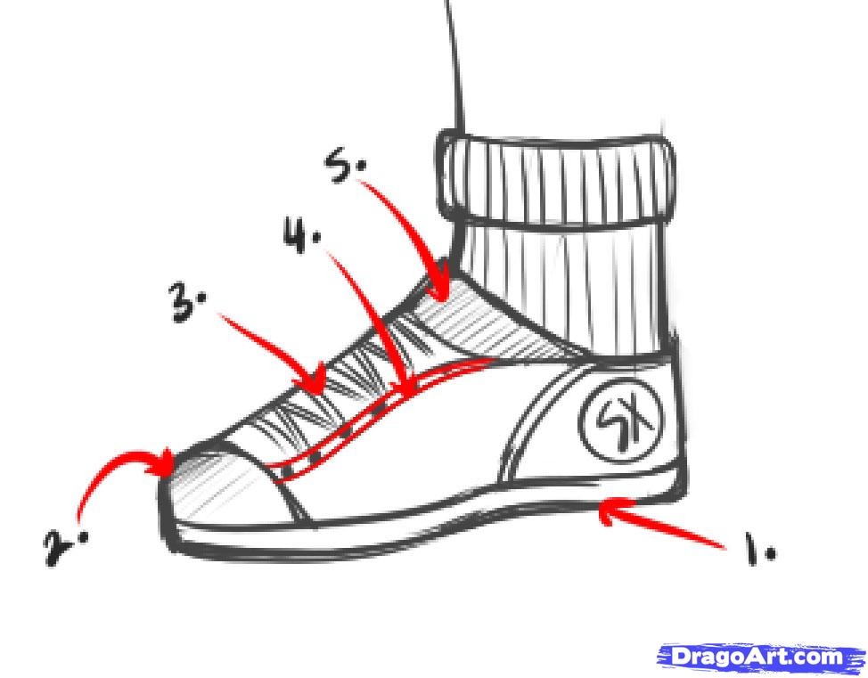 Drawn shoe drawing Step Step Culture draw