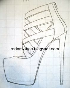 Drawn shoe drawing Strassed by high draw