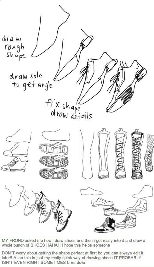 Drawn shoe easy Draw Drawing shoes How shoes