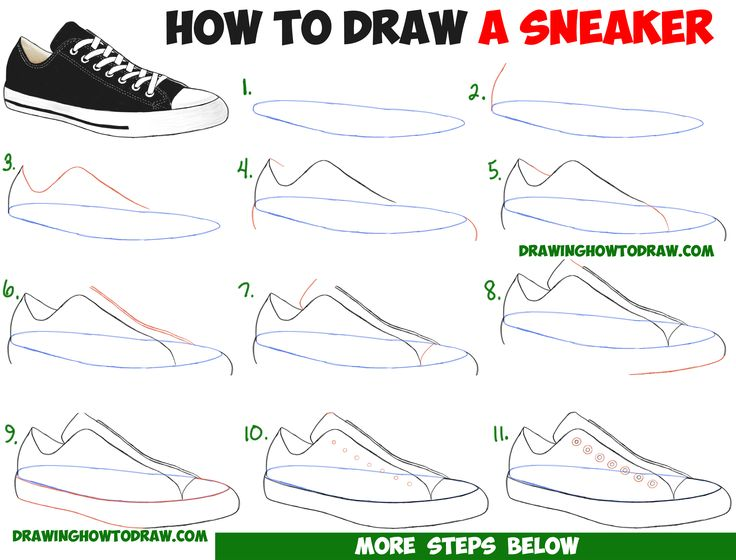 Drawn shoe easy Drawing Draw / Sneakers Step