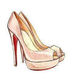 Drawn shoe fashion sketch Louboutin Louboutin Watercolor Illustration I