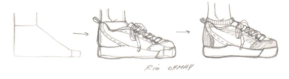 Drawn shoe foot Not angle and to above