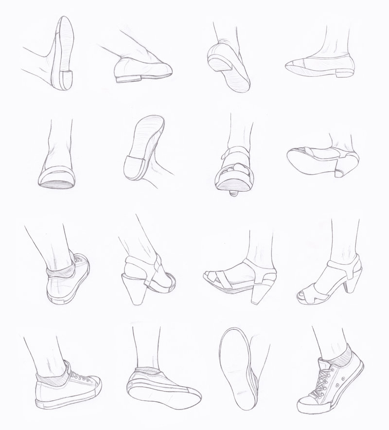 Drawn shoe foot Grace Reference and com by