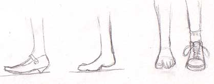 Drawn boots front view Above SHOES: weight FEET keep