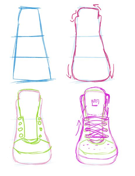 Drawn shoe front view Are views depth But are