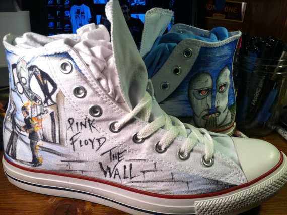 Drawn shoe hand painted Pink Canvas Floyd Painted