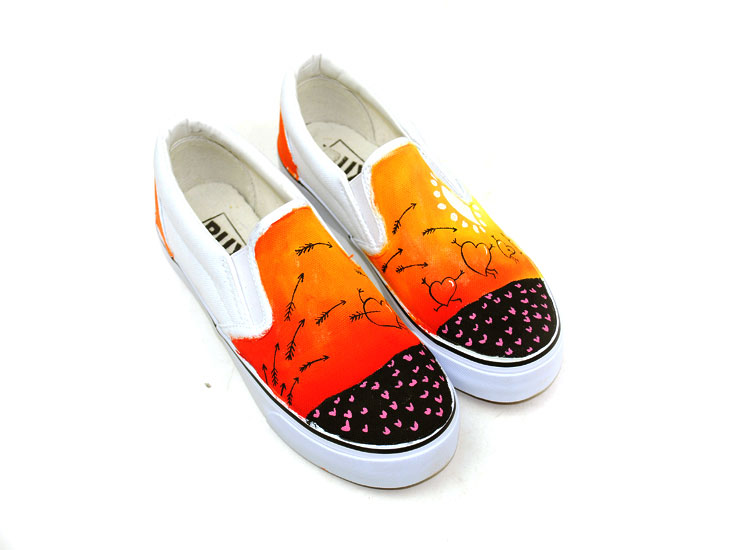 Drawn shoe hand painted Hand Painted Painted top Custom