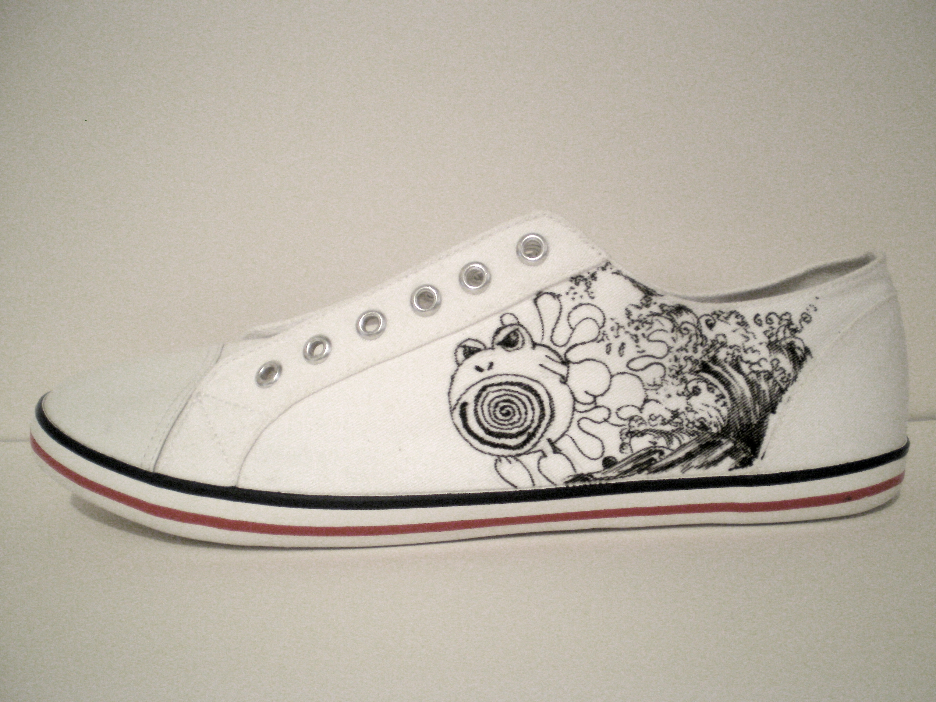"Drawn shoe have been  Hand Shoes…""Lets Canvas wear"