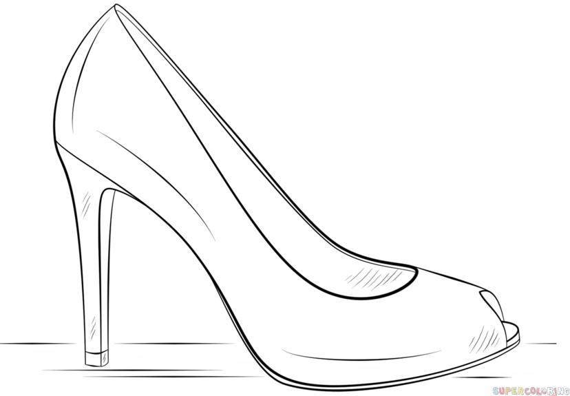 Drawn shoe high heel Shoe Step a heel to