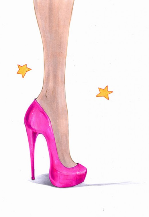 Drawn shoe high heel To high How high to