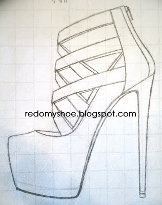 Drawn shoe high heeled shoe A  these how to