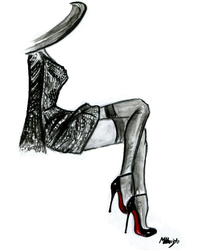Drawn shoe high heeled shoe ] TWO THE [ ]