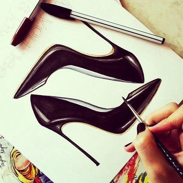 Drawn shoe illustrated Design Pinterest Shoe sketches illustration