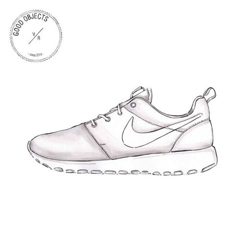 Drawn shoe illustrated Zapateria best images Nike roshe