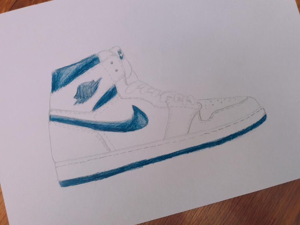 Drawn shoe jordan 1 1 YouTube Air drawing drawing