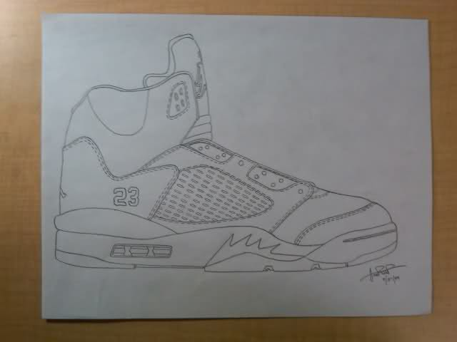 Drawn shoe jordan 5 #13