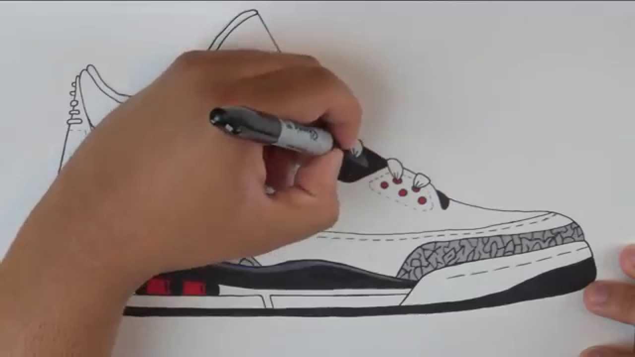 Drawn sneakers jordan 3 W/ Infrared Draw: Stencil Draw: