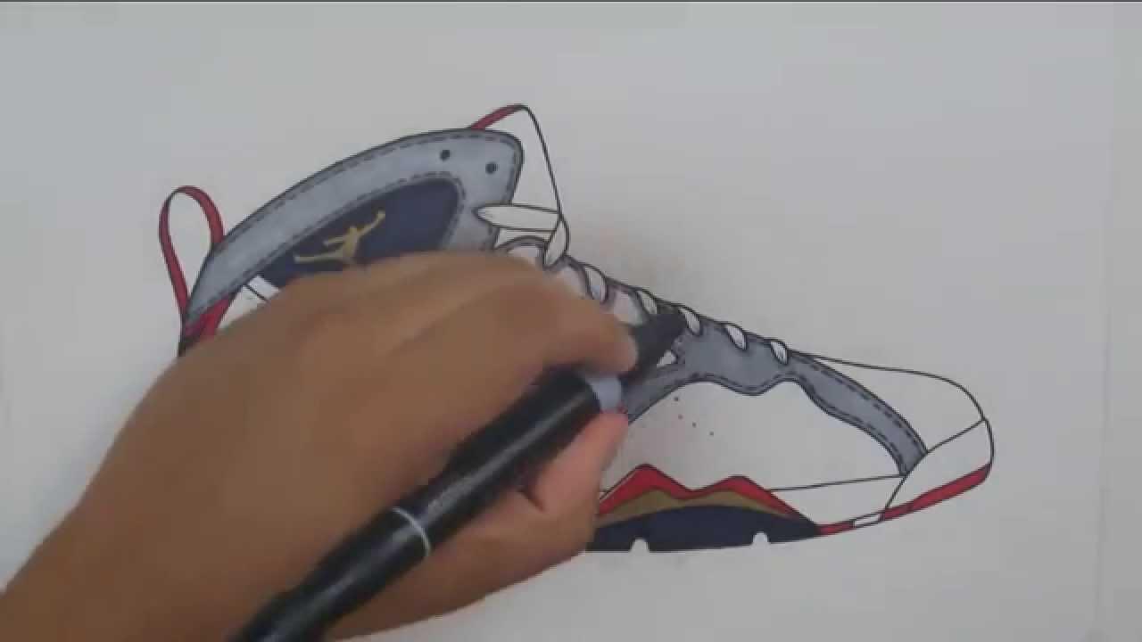 Drawn shoe jordan 7 W/ Stencil Draw: Olympic 7