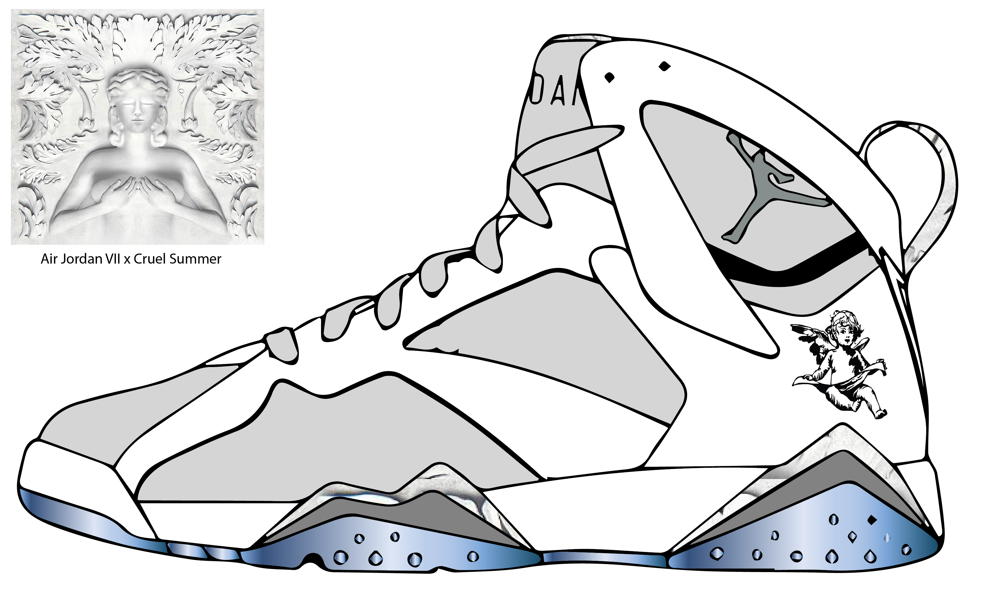 Drawn shoe jordan 7  drawing 13 jordan air