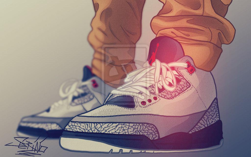 Drawn sneakers jordan 3 Air retro drawing jordan stealth
