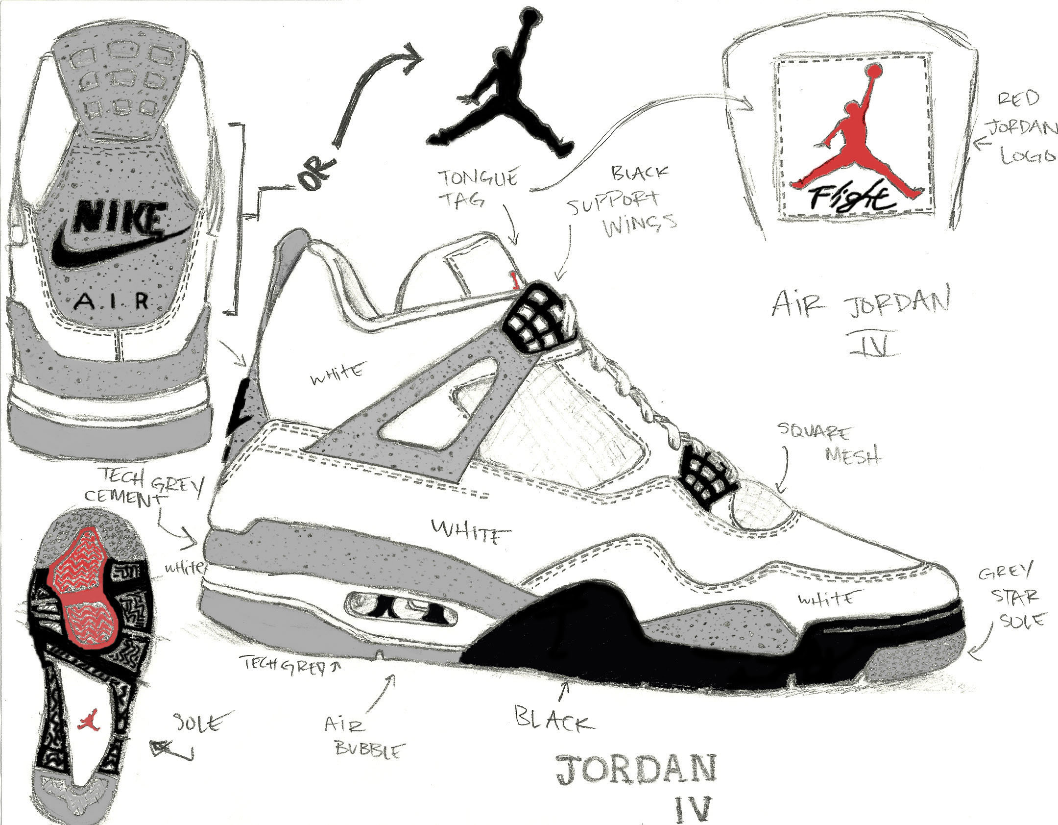 Drawn shoe jordan retro Sole Cement Jordan Air Origins