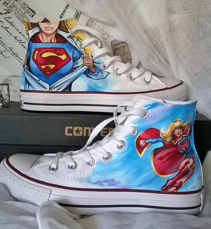 Drawn shoe justice league Converse painted shoes shoes Super