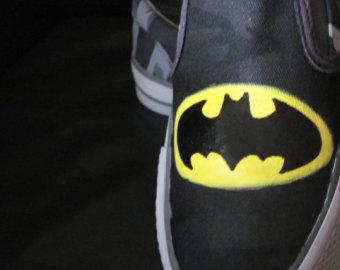 Drawn shoe justice league Painted Batman Adult shoes custom