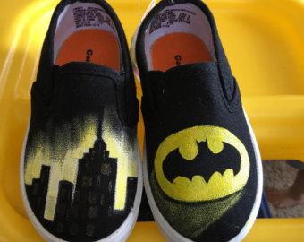 Drawn shoe justice league Batman canvas Batman canvas Etsy