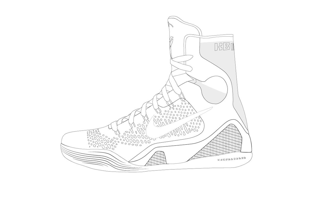 Drawn sneakers kobe 9 Drawing: on kobe Technical Outline
