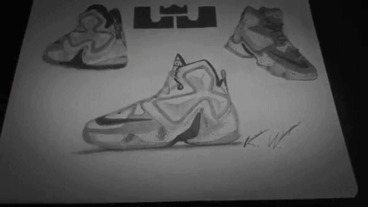 Drawn shoe lebron shoe Lebron Drawing 13 Lebron YouTube