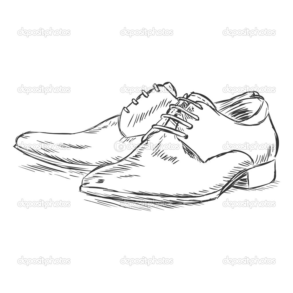 Drawn shoe mens shoe Stock Illustration sketch Vector illustration