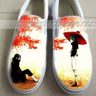 Drawn sneakers naruto Low Anime Sasuke Slip Anime