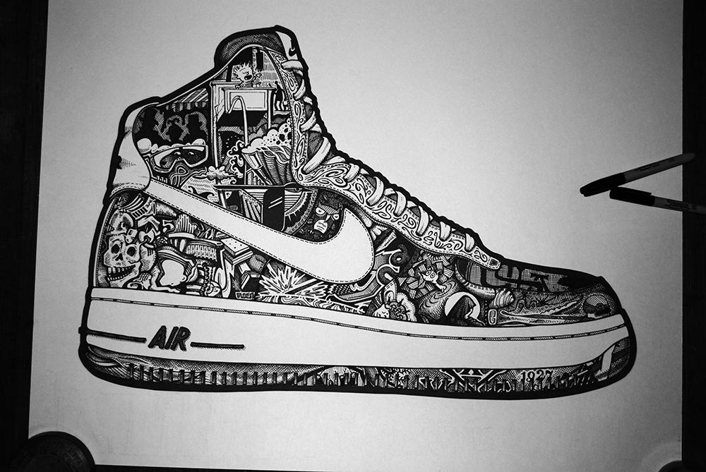 Drawn shoe nike air force 1 Force air  drawing 1