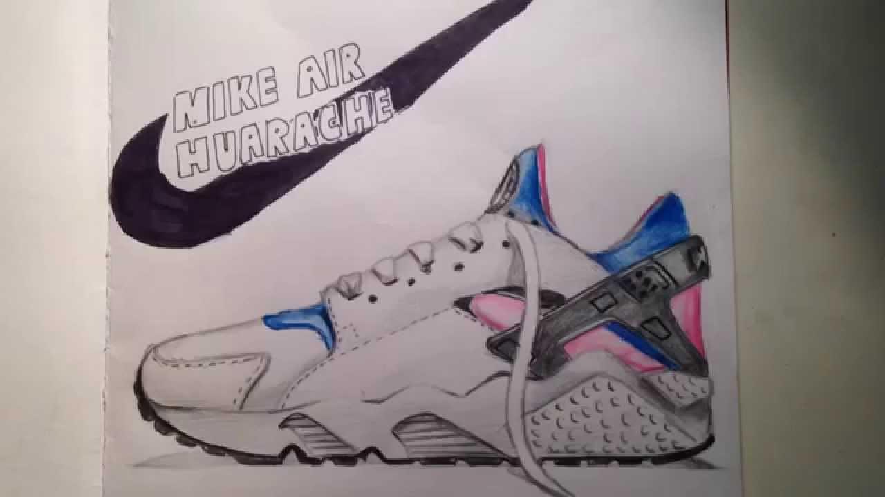 Drawn shoe nike logo Air YouTube Nike Drawing Huarache