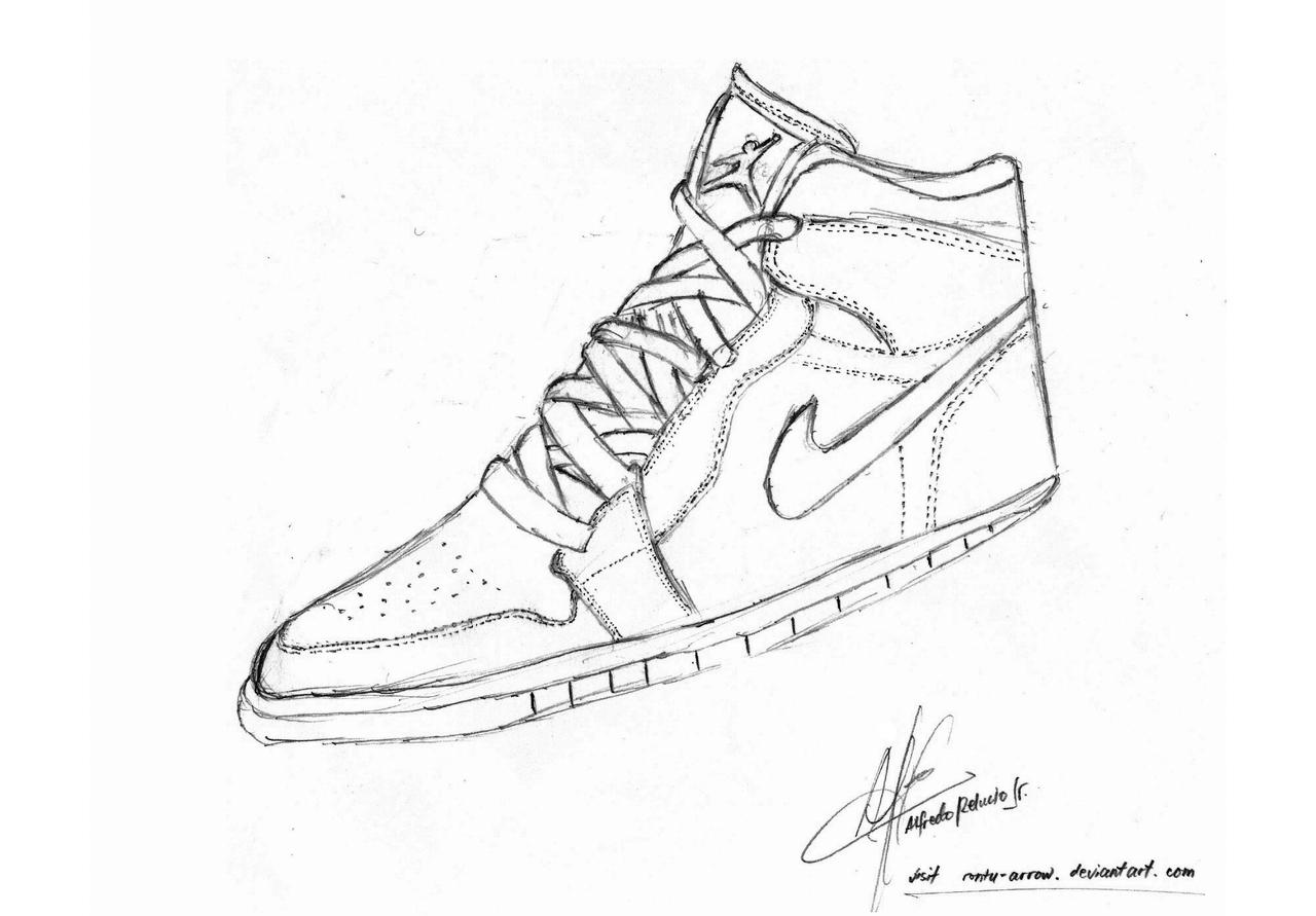 Drawn shoe nike logo Jordan shoe rontu on rontu