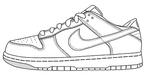 Drawn shoe nike sign Coloring Coloring Shoes Nike Of
