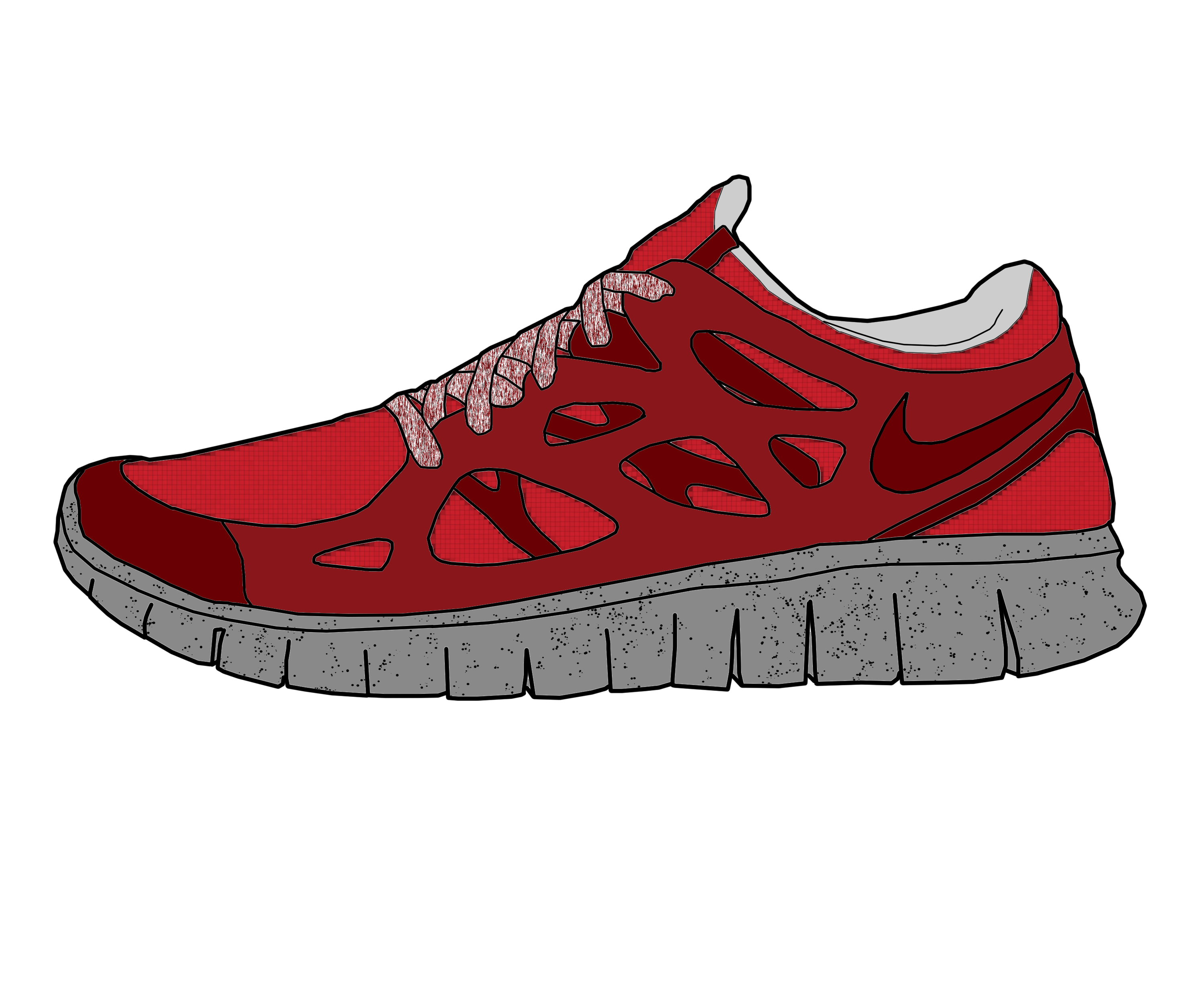Drawn shoe nike trainer Takcho Free Explore Suede creps